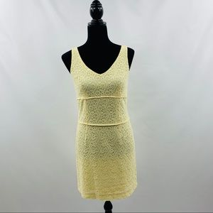 Petite Sophisticate Yellow Floral Eyelet Dress